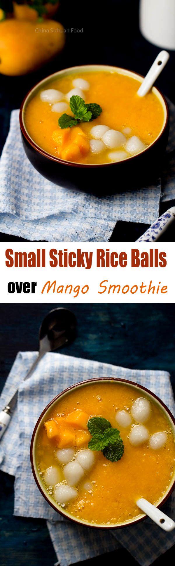 Small Sticky Rice Balls over Mango Smoothie   ChinaSichuanFood.com