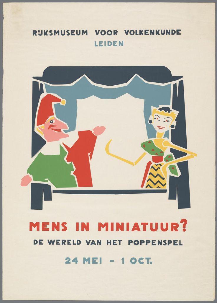 Affiche voor de expositie Mens in miniatuur? De wereld van het poppenspel van 24…