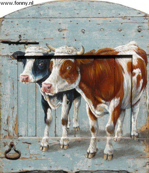 Twee koeien op oude staldeur / Two cows on an old stable door - 105 x 90 cm | koe | dieren | schilderij | oud hout | deur | boerderij | cow | animals | painting | old wood | door | farm |