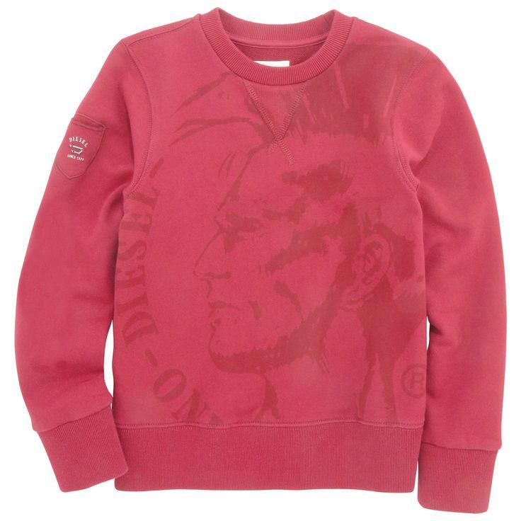 Sosj Sweatshirt. Dark red sweatshirt made of fleece. Stretch ribbed knit collar, cuffs and waistband. - 65,00 €
