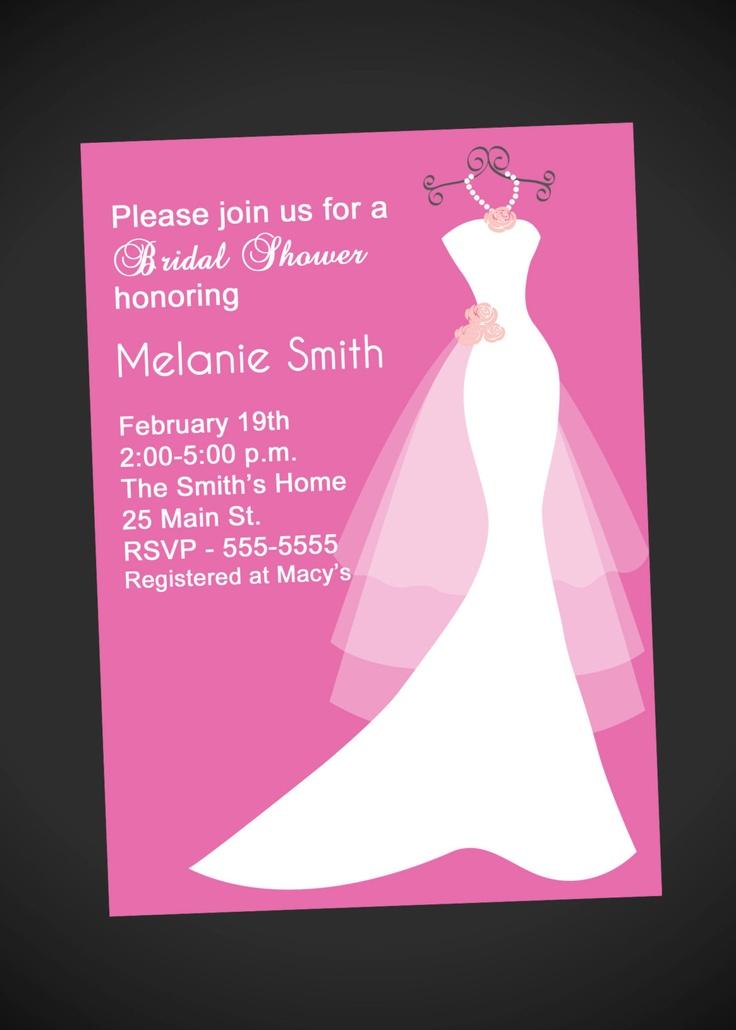 Wedding Dress Bridal Shower Invitation by simplyprintable