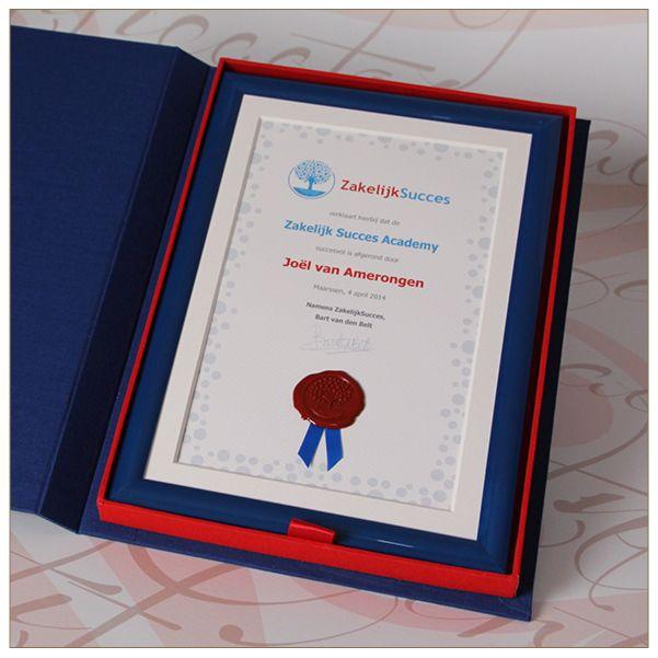 Certificaat voor Zakelijk Succes.