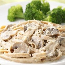 Fettuccine with Creamy for vegan option add vegan cream & parmesan. Mushroom Sauce  - EatingWell.com
