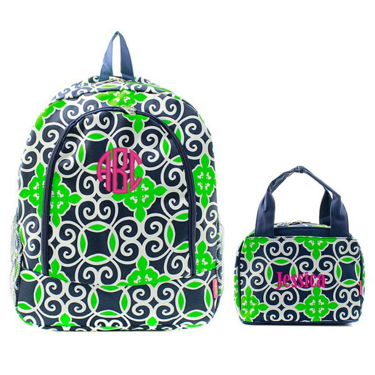 Matching Moroccan Green Navy Personalized Kids Backpack & Lunch Bag Set