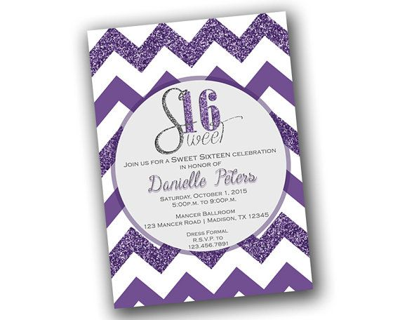 Get the beautiful purple and purple glitter Sweet 16 Invitations you've been looking for, for your daughters special day, featuring a chevron