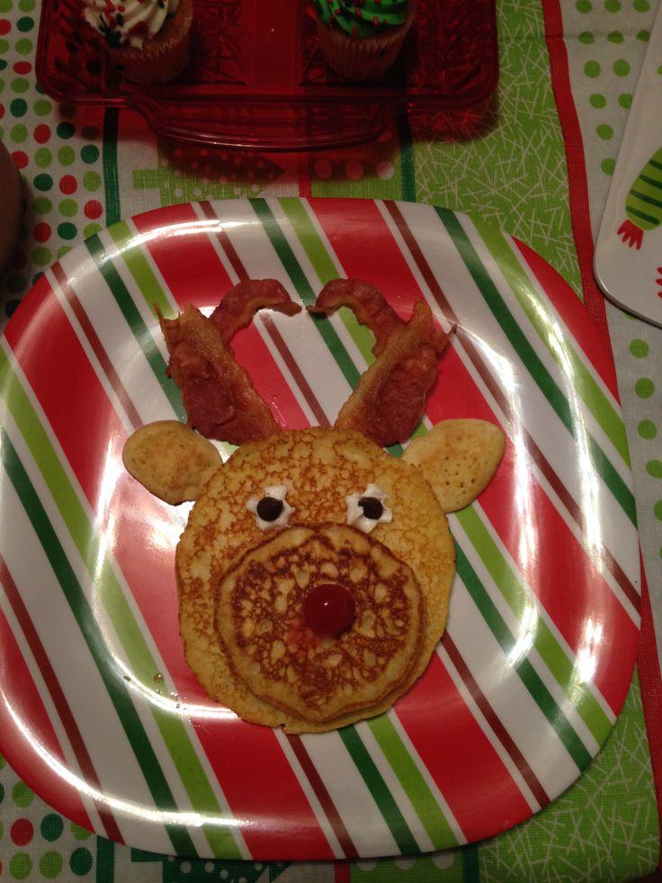 Day 1-North Pole Breakfast. Pancake reindeer.