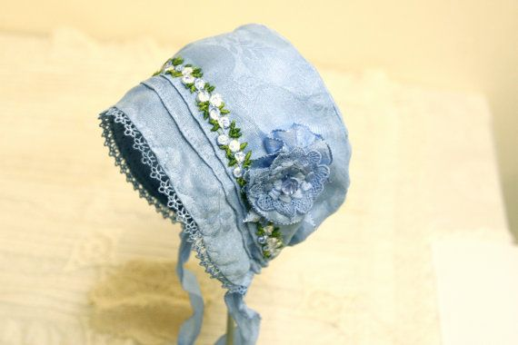 Baby in Blue Bonnet --Vintage Linen, antique bonnet, newborn, baby hat, baby girl, vintage baby, summer baby, shower gift, cotton, blue