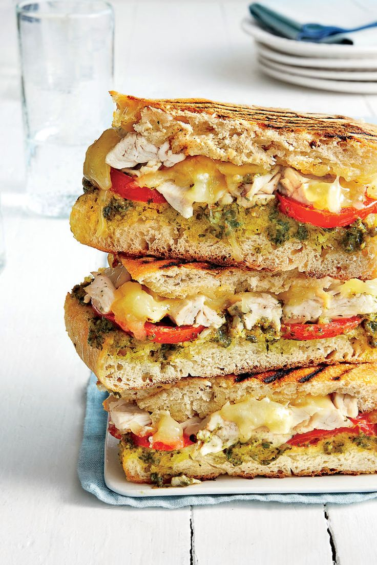 Chicken and Fontina Panini | Just got home and your stomach is already grumbling? We've got you covered. There are few things more torturous than trying to figure out what to eat when you're already starving—second only to the torture of grocery shopping while hungry. With situations such as these in mind, we created a collection of dinner recipes that are ready in 30 minutes or less meaning you'll have a delicious home-cooked meal on the table in a flash. So, skip the drive-through and take…