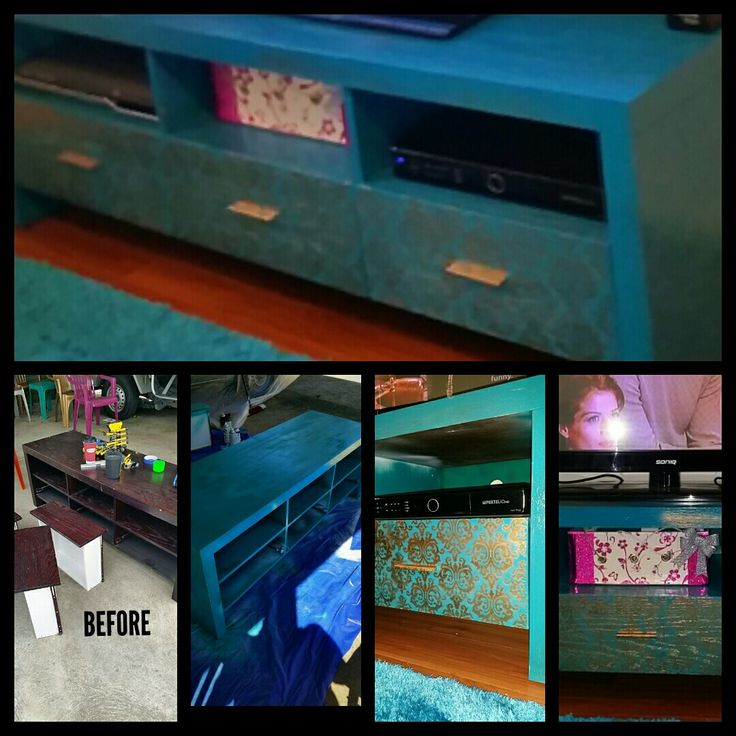A old laminated tv cabinet add turquoise and gold paint and it has a eho5le new life