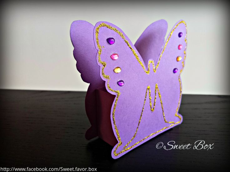 Butterfly favor box gift box with gold glitter