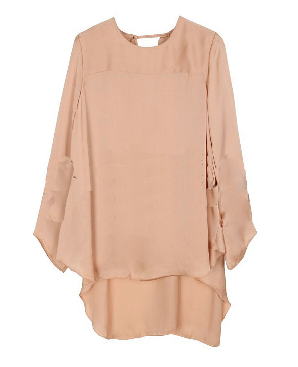 Ruffle Round Neck Long-sleeved Solid Bat Shirt Pink