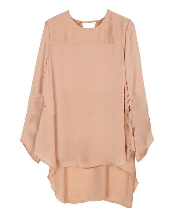 Ruffle Round Neck Long-sleeved Solid Bat Shirt Pink
