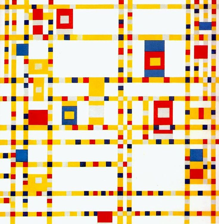 """Pieter Cornelis """"Piet"""" Mondriaan, after 1906 Mondrian (March 7, 1872 – February 1, 1944)  Broadway Boogie Woogie  Oil on canvas, 1942-1943  127 cm × 127 cm (50 in × 50 in)  Museum of Modern Art, New York"""