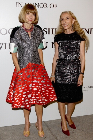 *Love* Anna Wintour's funky dress!   Editor-in-chief of Vogue America Anna Wintour (L) and Editor-in-chief of Vogue Italy Franca Sozzani attend The Vogue Fashion Fund Who Is On Next? party dring Milan Fashion Week Womenswear Spring/Summer 2012 at Palazzo Morando on September 22, 2011 in Milan, Italy. (Photo by Vittorio Zunino Celotto/Getty Images)