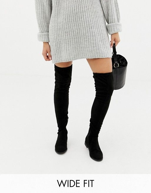 0d0c17828459 ASOS DESIGN Wide Fit Tall kaska flat studded over the knee boots$72.00