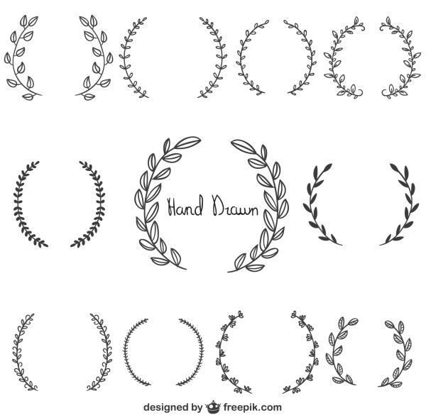 Free Graphics: Hand Drawn Laurel Wreaths - Bygone Vintage