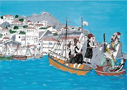 """The Greek hero, Makrigiannis, arrives to the Hydra island"", painted by E. Spatharis (80X50 cm - 1999)."