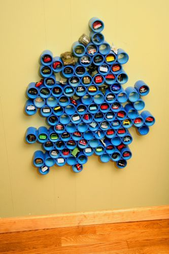Cool toy cars holder made out of PVC pipes