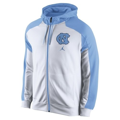 Nike North Carolina Tar Heels (UNC) Game Time Full Zip Performance Hoodie - Carolina Blue/White