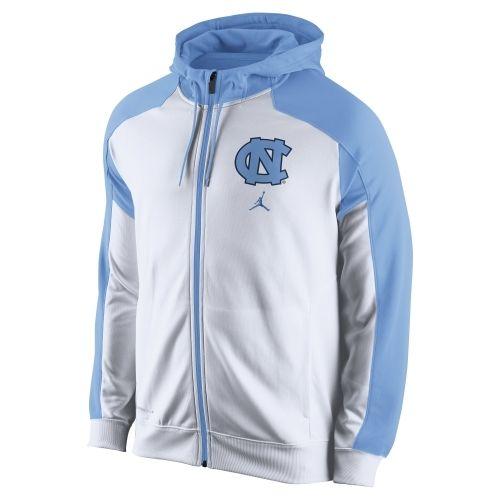 Nike North Carolina Tar Heels (UNC) Game Time Full Zip Performance Hoodie - Carolina Blue/White