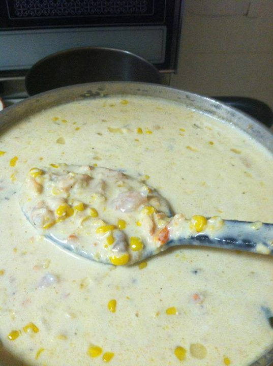 Corn & Crab Bisque 1 stick of butter 1/2 c. chopped onion 1 qt half-n-half 1 can cream of celery or cream of mushroom soup 1/2 tsp Worcestershire 2 Tbs flour 1 lb crab meat or 2 cans 3 cans cream of corn Tabasco to taste 1 tsp Beazell's Cajun Seasoning Sub 1 lb of shrimp or crawfish instead of crab.  Melt butter, add flour & blend.  Add onions and cook slowly on low for 10 min. Add crab meat, half and half, cream of celery soup, Worcestershire, corn Tabasco & Beazell's . Cook slowly for 20…