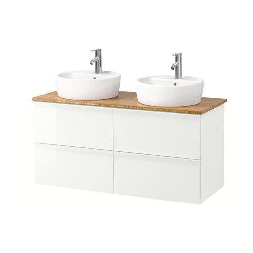 IKEA - GODMORGON/ALDERN / TÖRNVIKEN, Kast voor wastafel 45 v bovenblad, bamboe, hoogglans wit, , Gratis 10 jaar garantie. Raadpleeg onze folder voor de garantievoorwaarden.Je kan de wastafel plaatsen waar je wilt: in het midden, rechts of links.Door de speciaal vormgegeven sifon is er plaats voor ruime lades.Lades van massief hout met een bodem van krasbestendig melamine.Soepel lopende en zachtsluitende lades met blokkeerstuk.Je kan de grootte van het vak in de lade makkelijk veranderen…