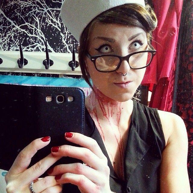 #tb #halloween #costume #crazylenses #whiteout #contactlenses #whiteeyes #ahoy #sailor #fakeblood #blood #alternative #creepy #piercing #piercedgirls #septum #costume #halloweencostume #cybershop #cybershopkamppi #kamppi