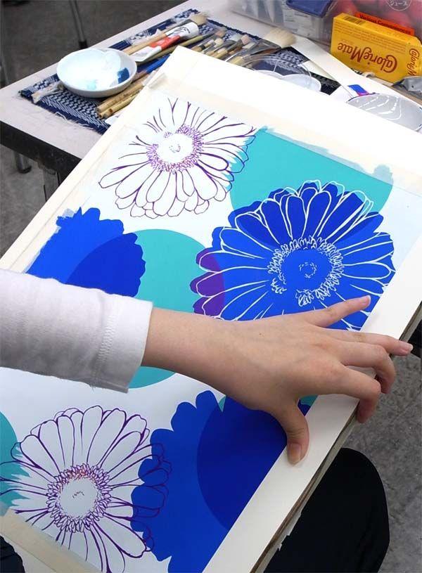 花と幾何図形の平面構成/私大デザイン・工芸科 : ヨゾコブ