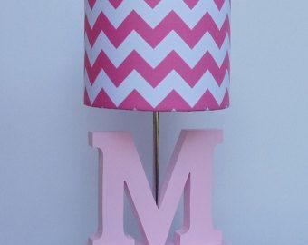 Handgemachte kleine Hot Pink/White Chevron Lampenschirm - Kindergarten, Mädchens Lampenschirm