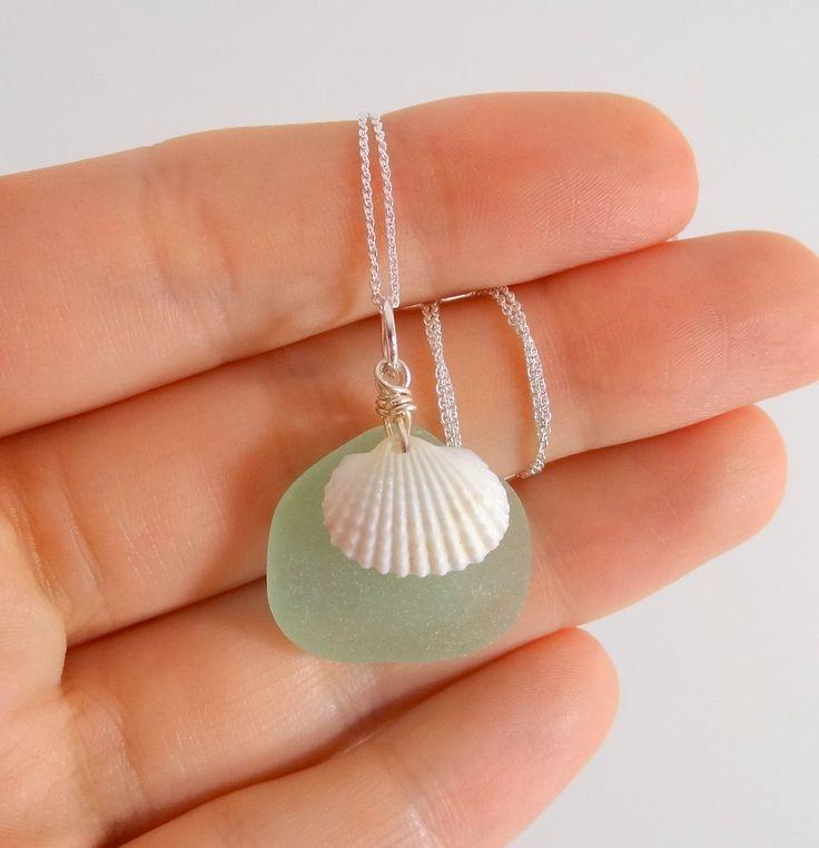Sea Glass Necklace Sea Foam Green Sea Glass and by AllesCorner