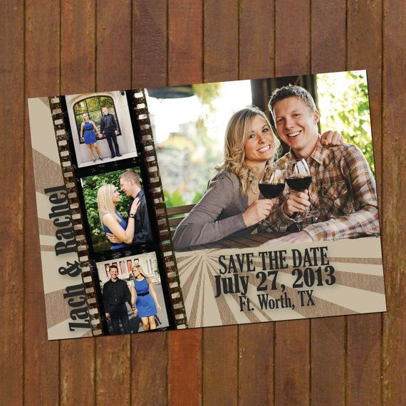 Wedding Save the Date Magnet or Cards - film strip - 4 photos on Etsy, $15.00