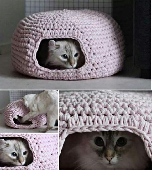 Katzenkorb aus Stoffgarn