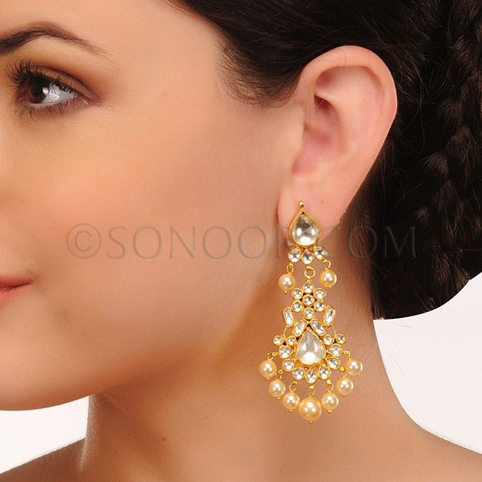 EAR/1/3424 Earrings in gold finish studded with kundan and pearl droplets 	 $88	 £52