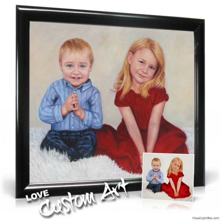 A wonderful gift for parents and grand parents - have the children painted in oil www.lovecustomart.com