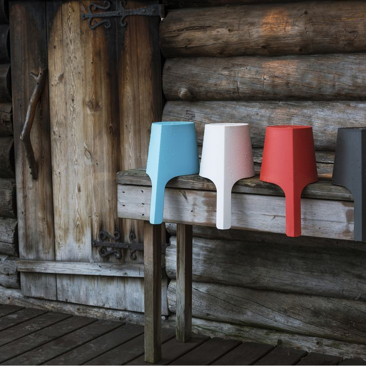 Rento Pisara / This design is made in Finland from UPI Formi, an ecological biocomposite of renewable pulp fibers and clean plastic polymers which can be converted into energy by burning. The material is lighweight yet sturdy, allowing the bucket and ladle and to be easily transported even when filled with water. | Rento Pisara Sauna Buckets & Ladles