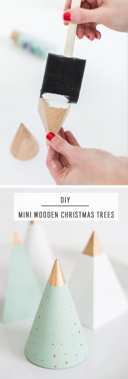 These DIY mini wooden Christmas trees are a great handmade decor project for the modern home! #christmastrees #modern #diy