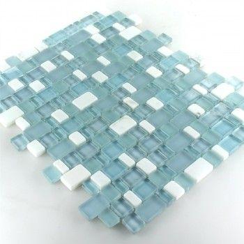 Marmor Glas Mosaik Mini Türkis Weiss Mix