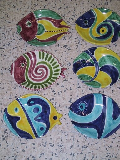 Summer Fun Seafood Plates, set of six!available on our website: www.romeocuomoceramics.com