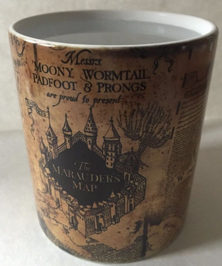 Harry Potter Marauders Map Morphing Mug- turns from dark brown into a Marauders Map when you pour in hot liquid!
