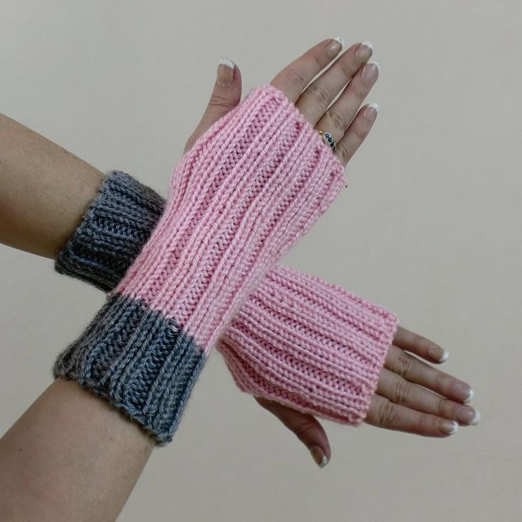 Fingerless Gloves Rib Knit Light Pink Grey Short Wrist Warmers Mittens.  via Etsy.