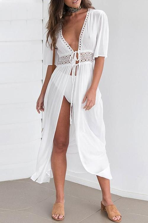 6fe7c0fdccf11 Maxi tie up front lace detail white beach cover up boho dress ...