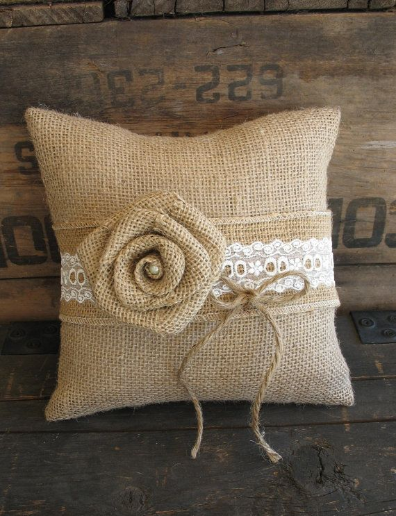 Ring Pillow Burlap Ring Bearer Pillow by TheShabbyChicWedding, $35.00