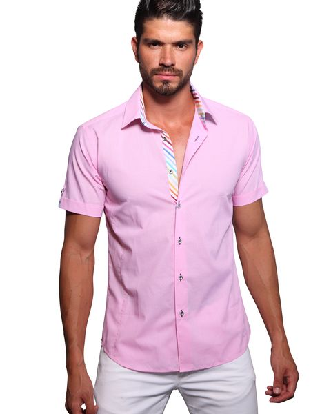 Mens Pink Short Sleeve Dress Shirt | Artee Shirt