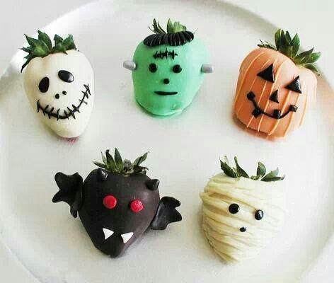 Halloween treats- covered strawberries (pumpkin, bat, mummy, skeleton, frankenstein)