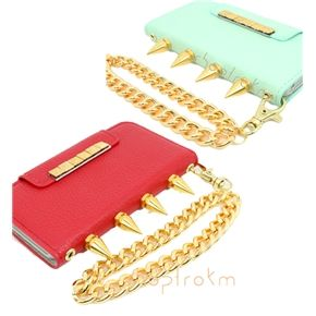 Rocker Chic Gold Studded & Spiked iPhone 5 Wallet Phone Case With Matching Wrist Chain honey dew mint and apple red ***********Shop now and use the code :REPIN to get 15% off and get FREE shipping within the U.S...