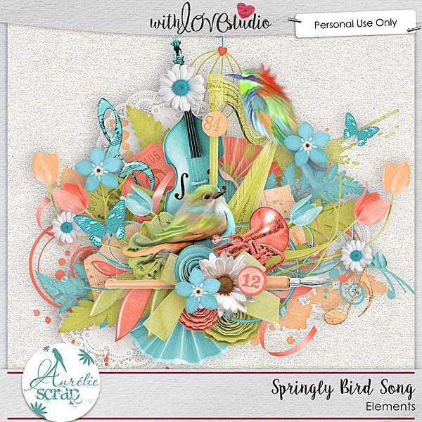"""Elements """"Springly Bird Song """" by Aurélie Scrap.   It contains : 65 elements"""