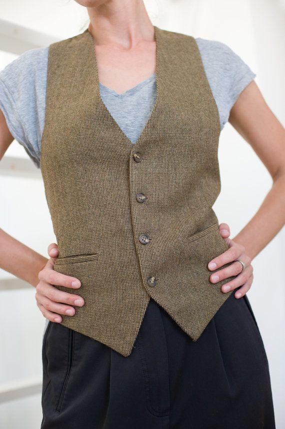 Unisex wool waistcoat boy toy style tweed women vest women
