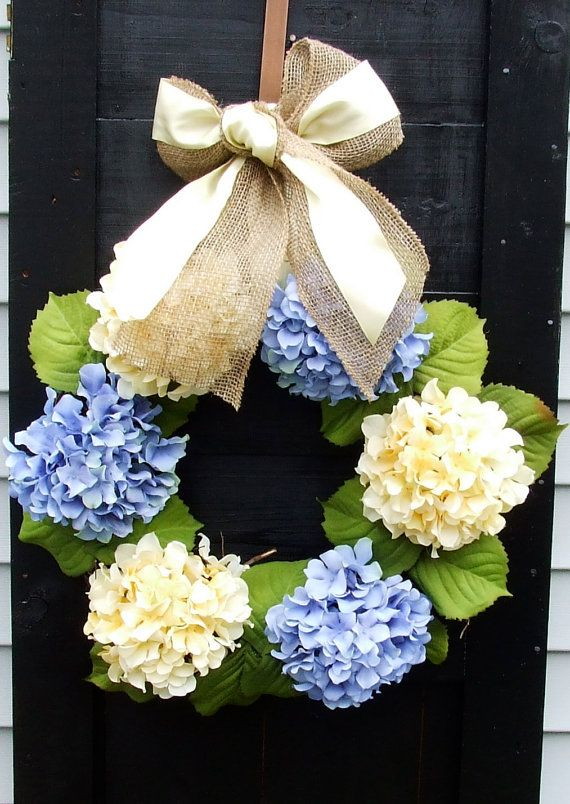Blue and Yellow Hydrangea Wreath for Spring by MonicaMurrayHome. This would look so pretty on my door. LOVE Hydrangeas!