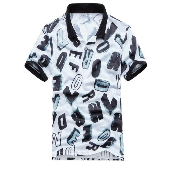 Mens Cotton Polo Shirts Turn-Down Collar Summer Style Short Sleeve Print Polo Shirt Men