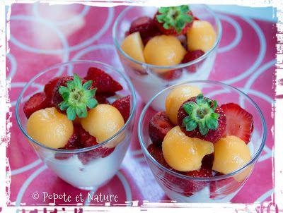 © Popote et Nature - verrine mousse de pêche, melon et fraises